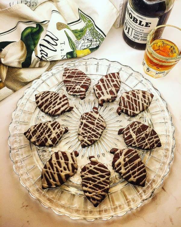 Hazelnut Brownie Cookies with a Bourbon Maple Glaze