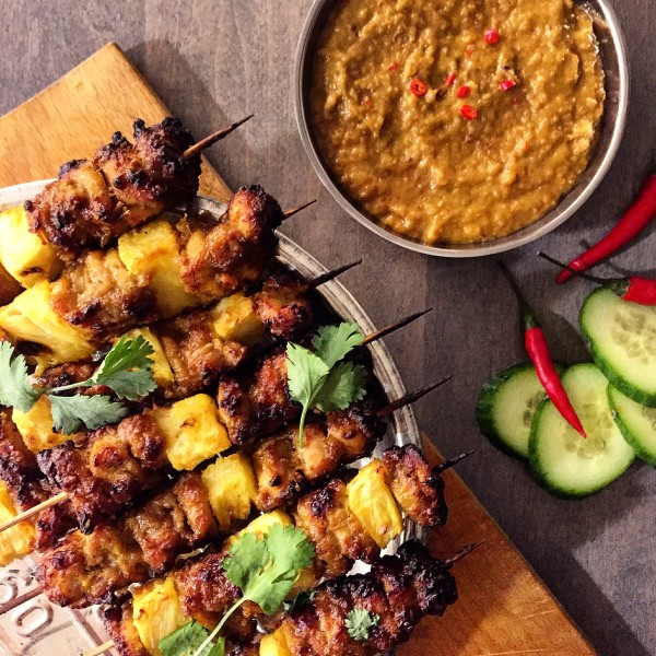 Chicken and Pineapple Satay with Peanut Sauce