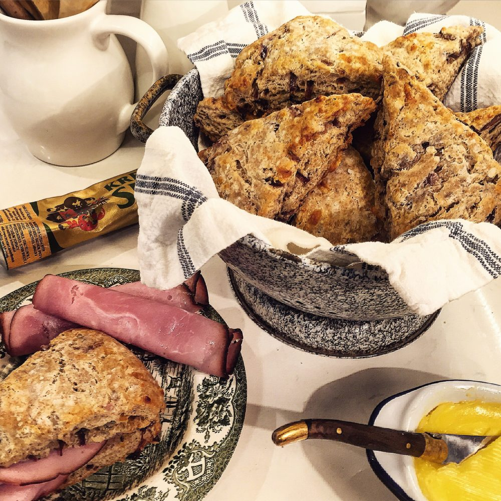rye scones with caramelized onions and gruyere