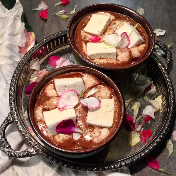 Kahlua and Rosewater Hot Chocolate