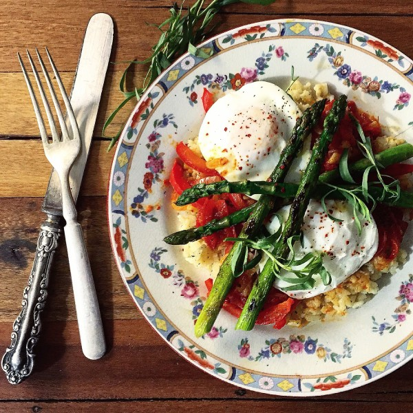 Piperade with asparagus and poached egg