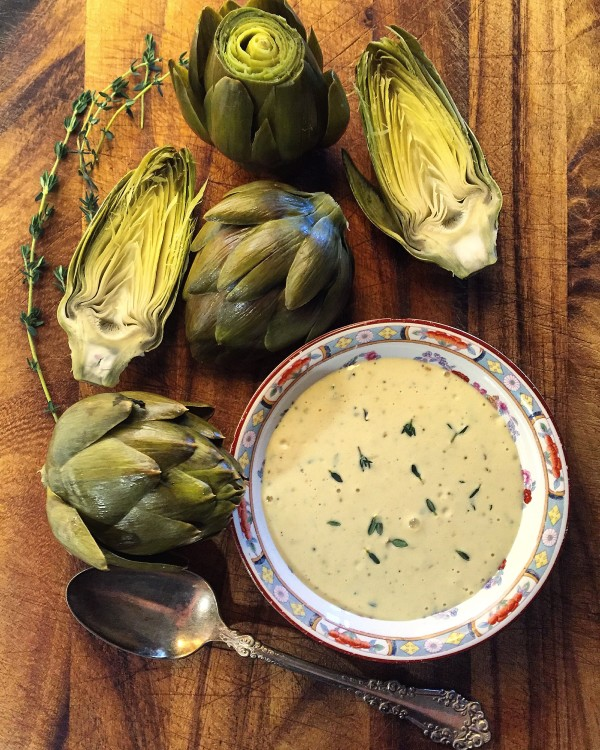 Steamed Artichokes with hollandaise