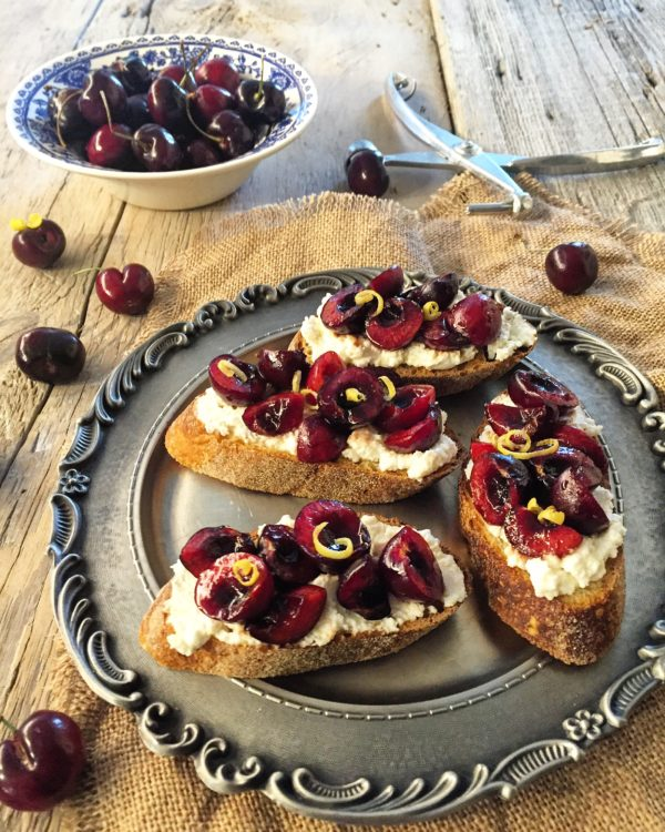 Cherry Crostini with Lemon Ricotta