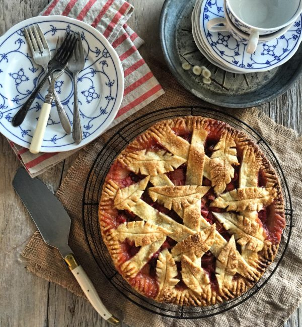 Strawberry Rhubarb Pie with Mint and Bitters