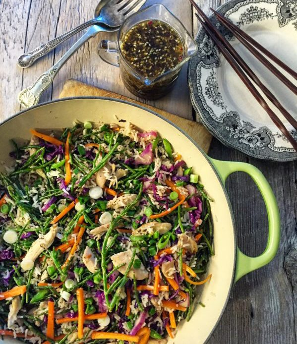 Chicken, Samphire and Veggie Stir Fry with Ginger Miso Dressing