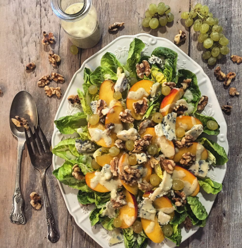 Peach and Little Gems Salad, with Grapes and Walnuts and a Blue Cheese Vinaigrette