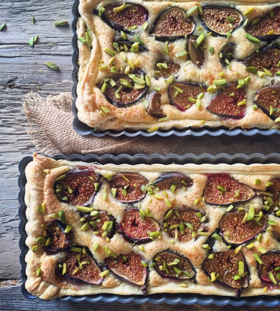 Fig and Rosewater Frangipani Tart with Honey and Pistachios