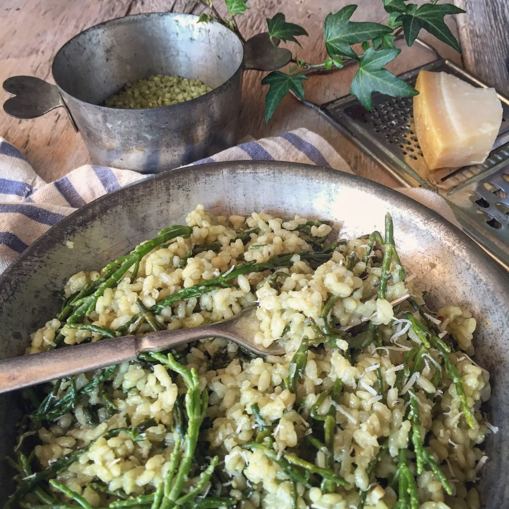 green risotto with sea asparagus