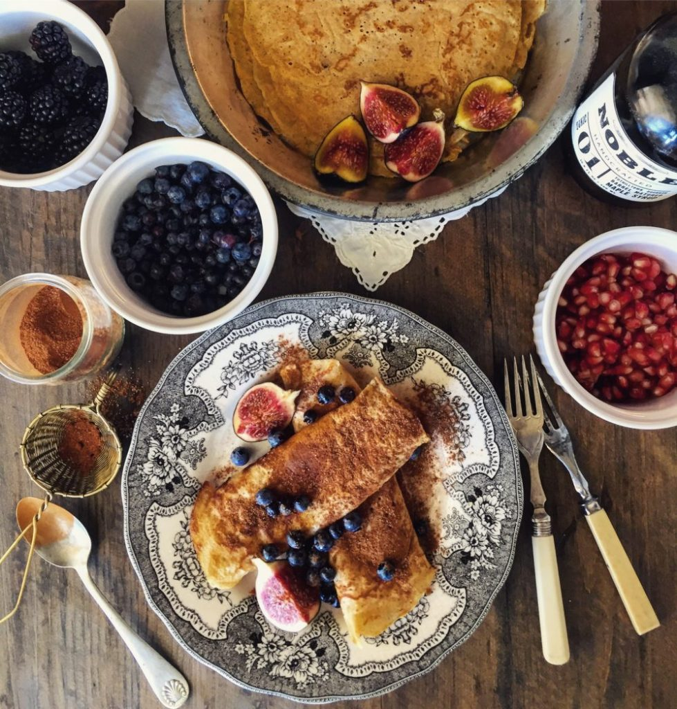 Crepes with cinnamon sugar and fruit