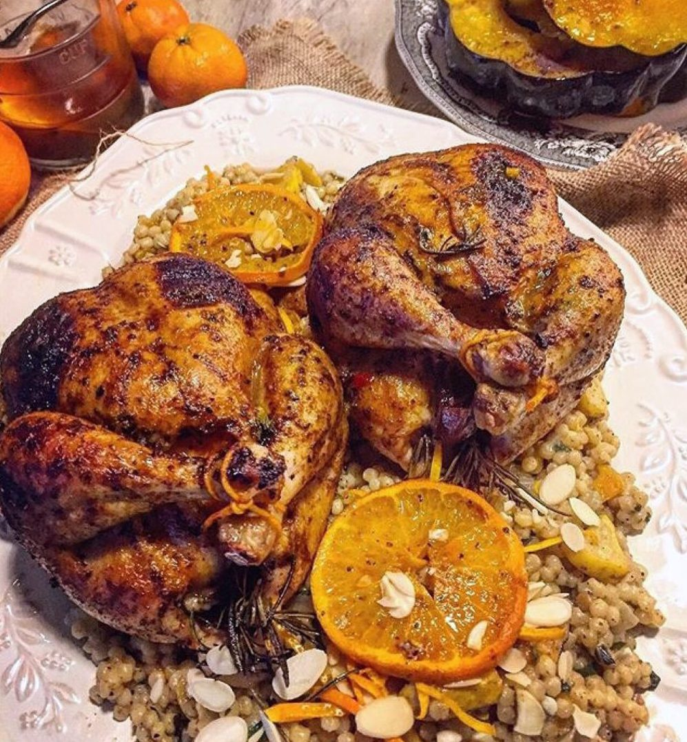 Harissa Roasted Cornish Hens stuffed with Dates and Clementines with Moroccan Pearl Couscous