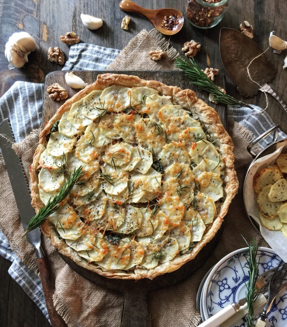 Potato, Kale and Gorgonzola Tart with Rosemary and Walnuts