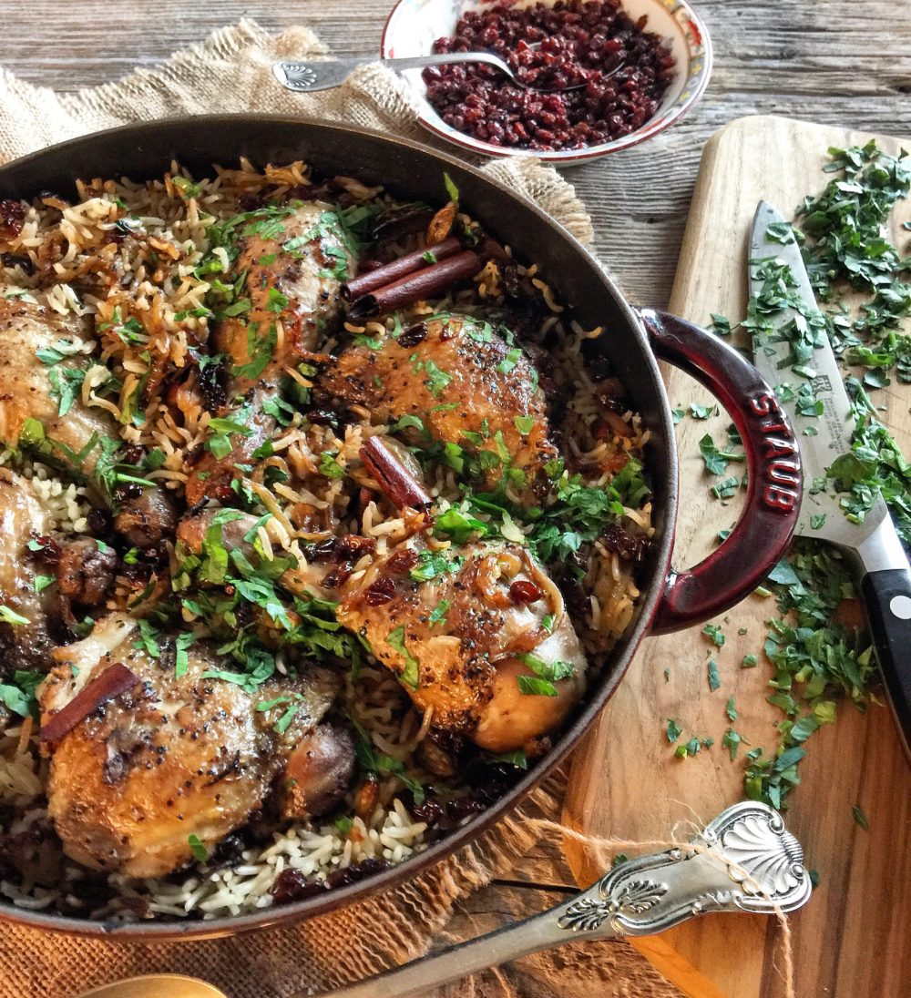 chicken with cardamom rice