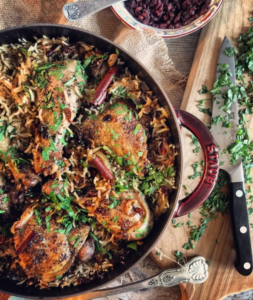 Chicken with Caramelized Onions and Cardamom Rice