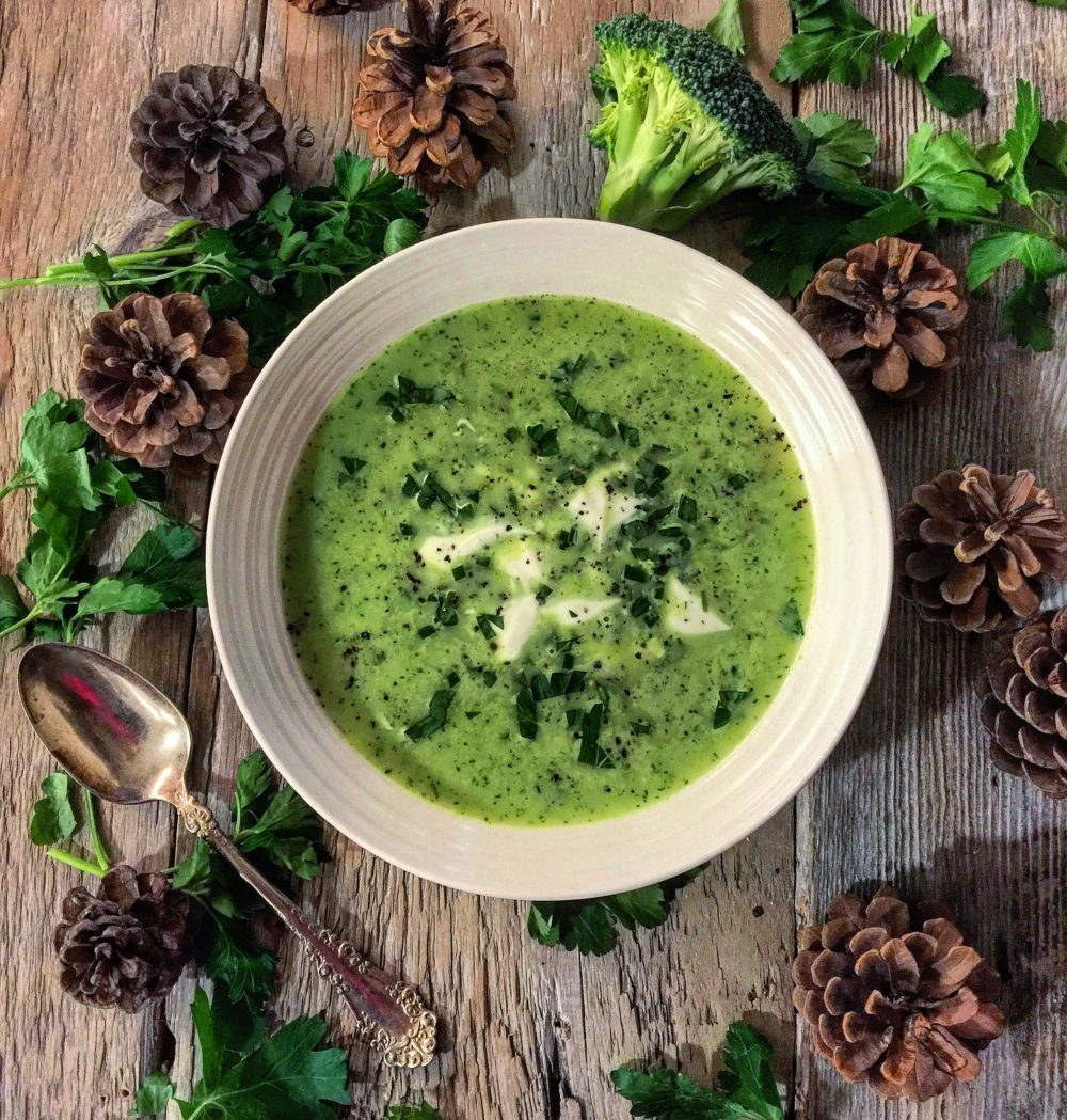 Broccoli and Feta Soup with White Beans and Parsley
