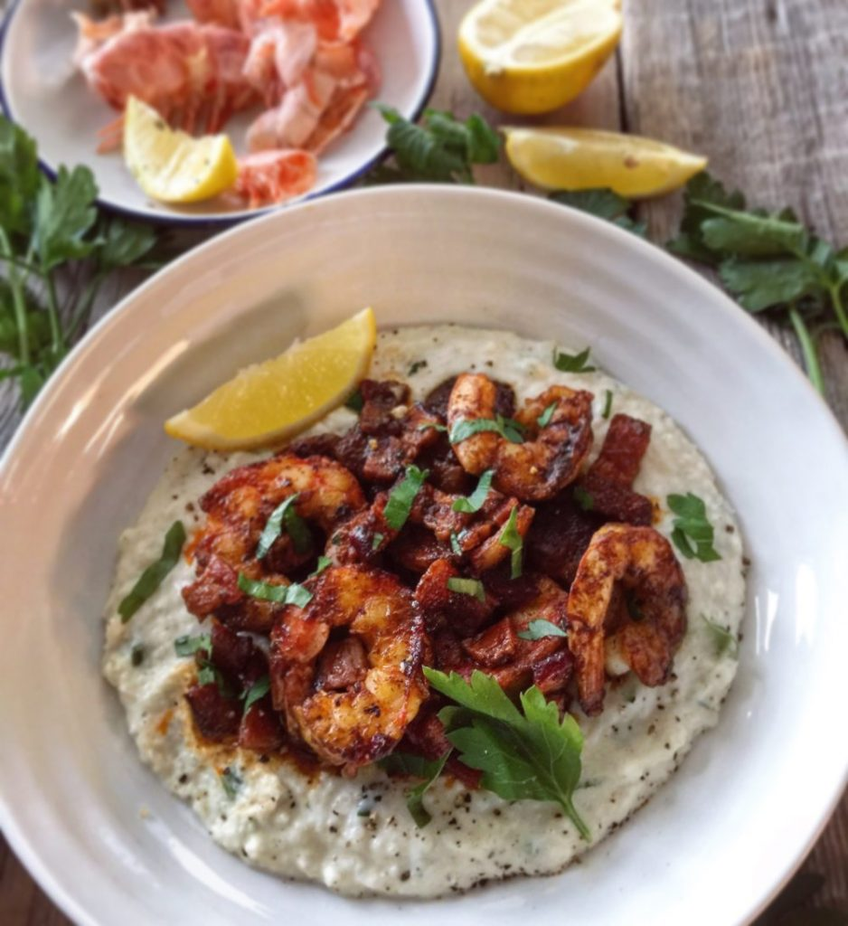 Harissa Shrimp and Cauliflower 'Grits'