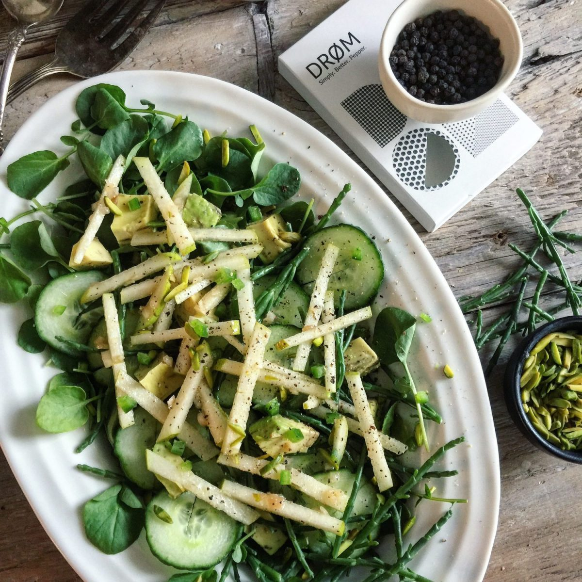 Cress, Sea Asparagus and Cucumber Salad with Pear and Shallot Champagne Vinaigrette