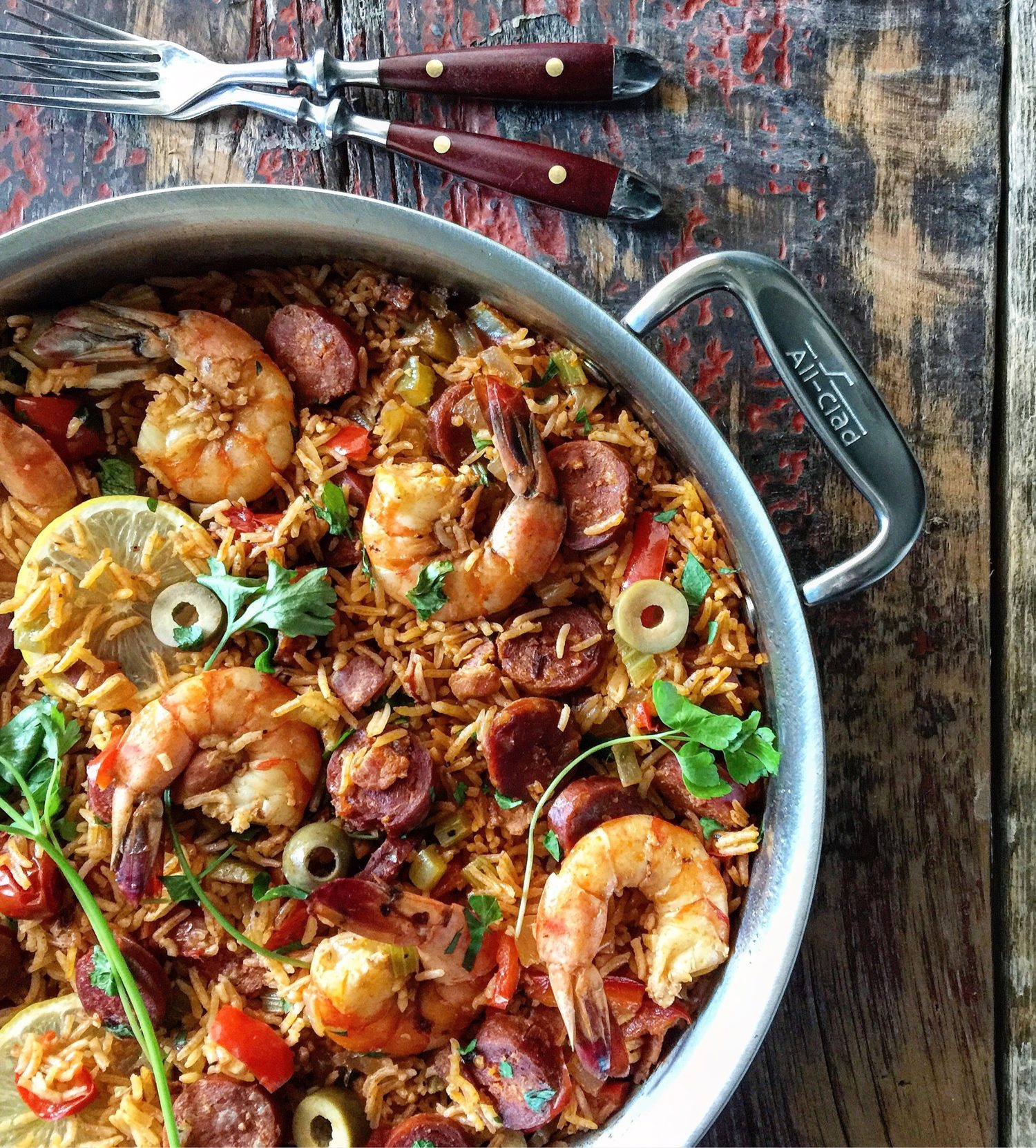 Bloody Caesar Shrimp, Chorizo and Rice Pilaf