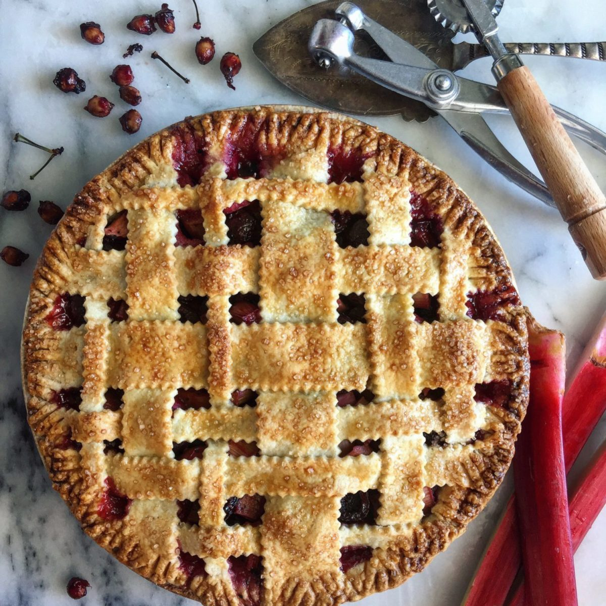 Cherry and Rhubarb Pie with Urfa Biber and Allspice