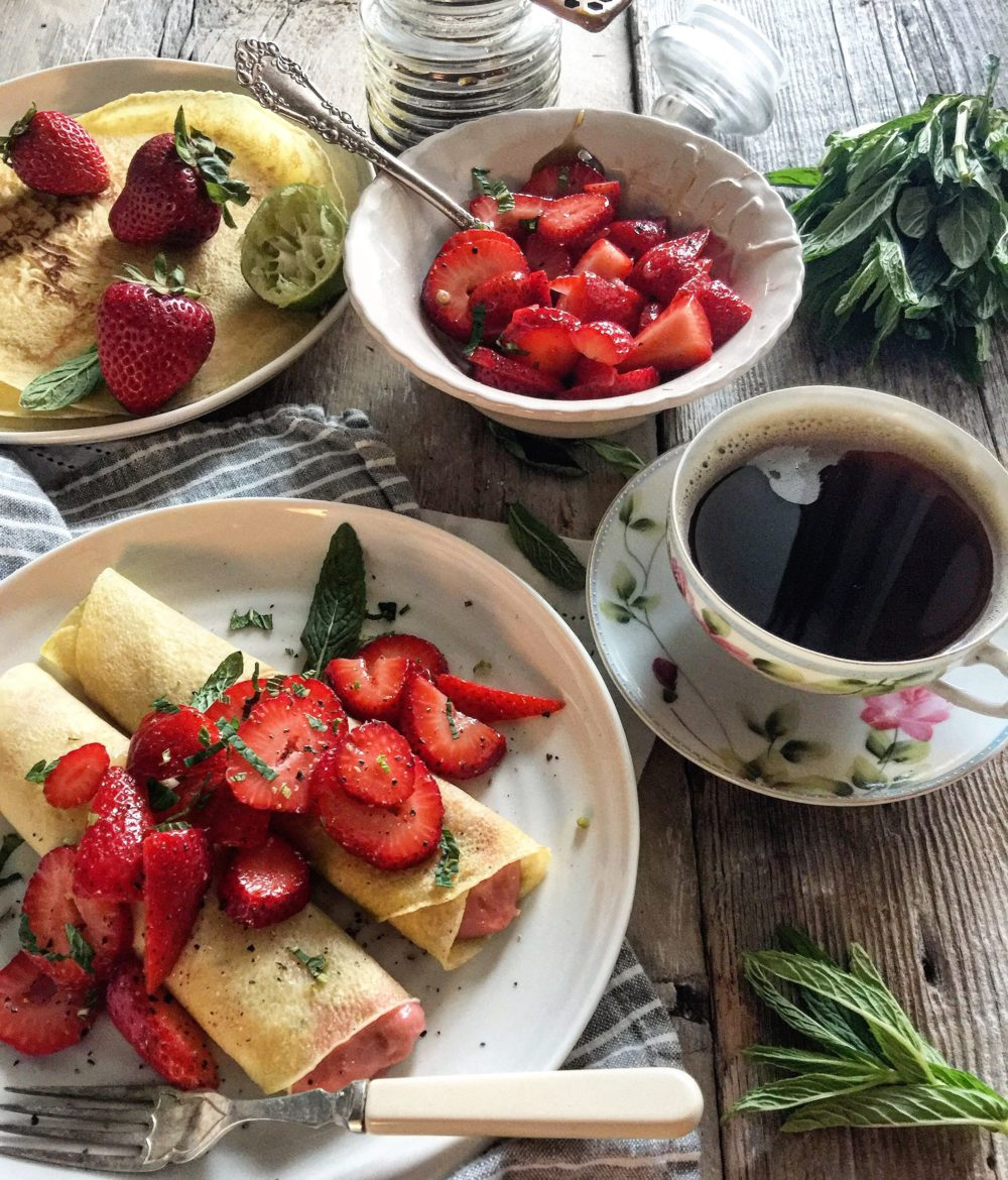 Rhubarb Curd, Honey and Lime Strawberry Crepes