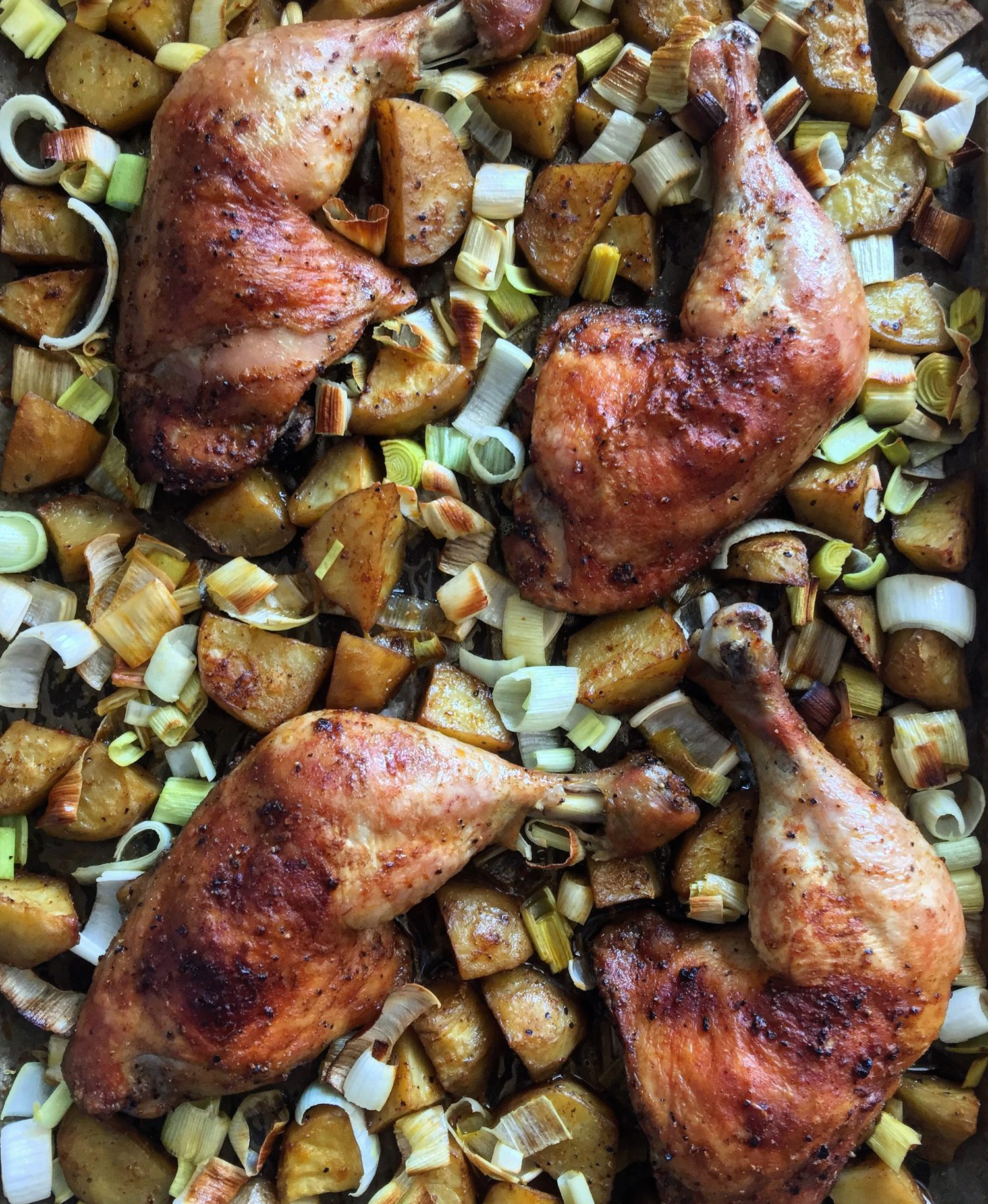 Harissa Chicken, Leeks and Potatoes