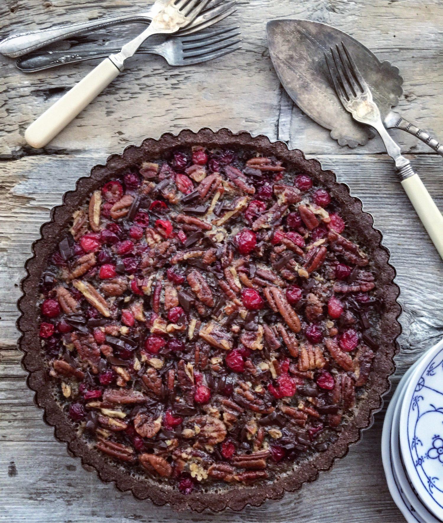 chocolate cranberry pecan tart