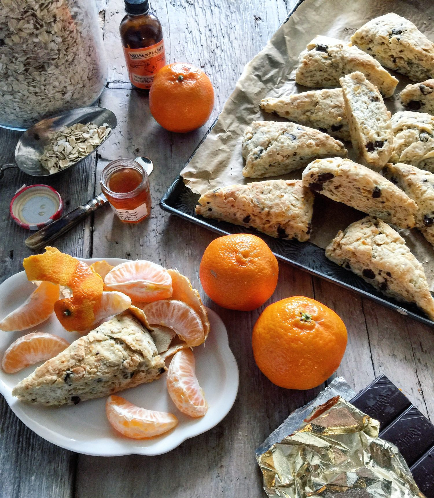 Oatmeal Scones with Orange, Ginger and Chocolate