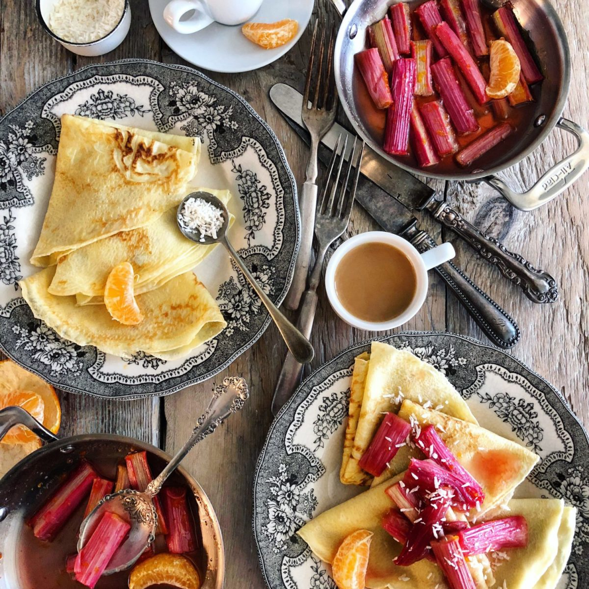 Roasted Rhubarb Crepes