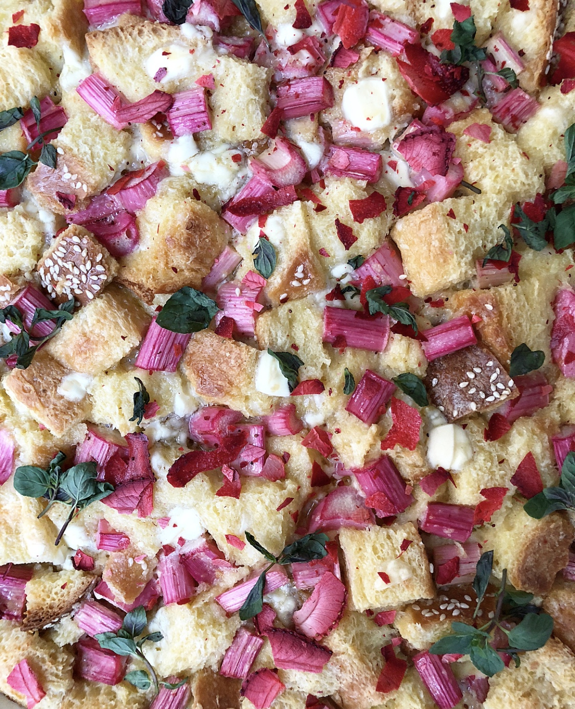 Rhubarb and White Chocolate Bread Pudding