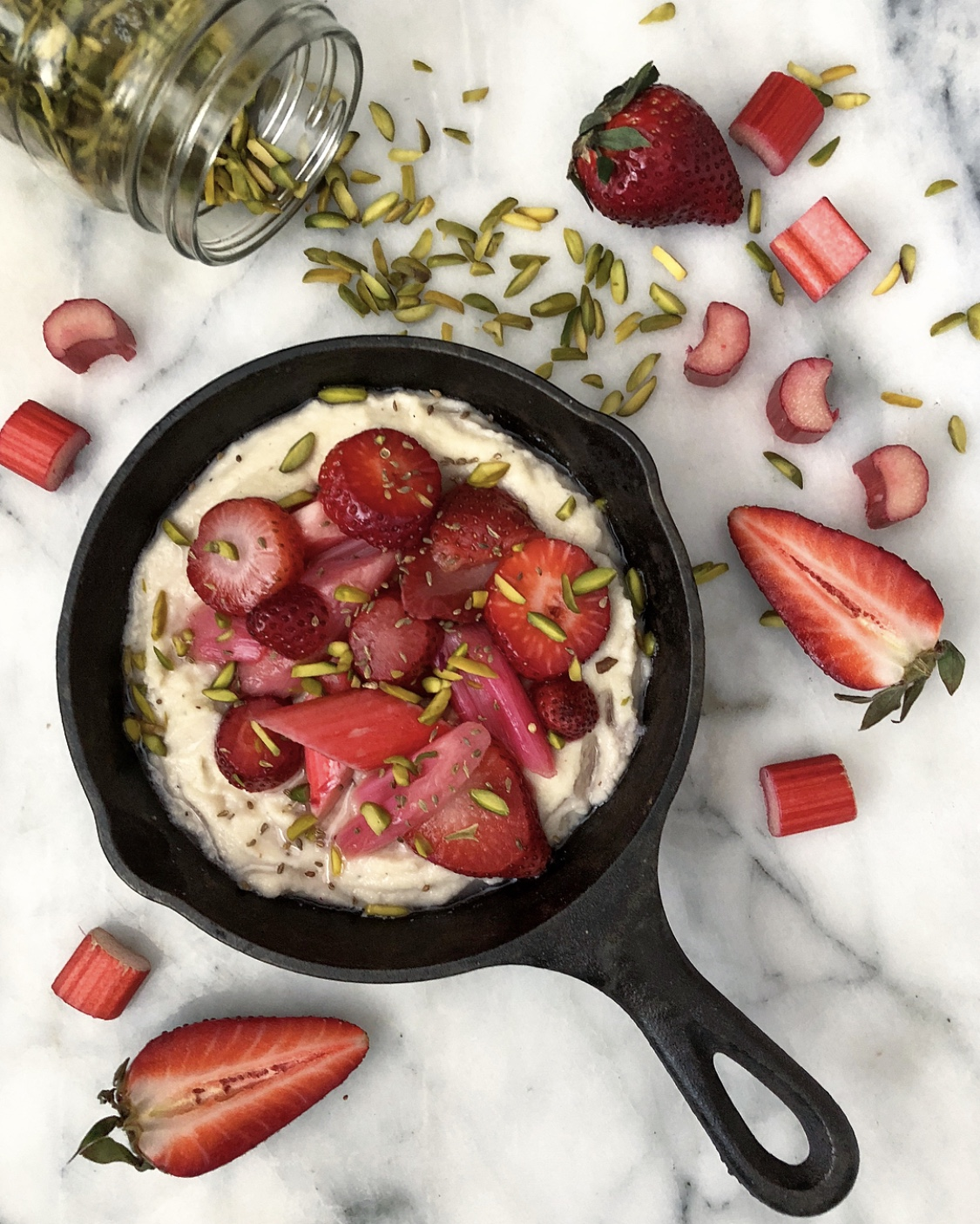 Rhubarb and Almond Grits
