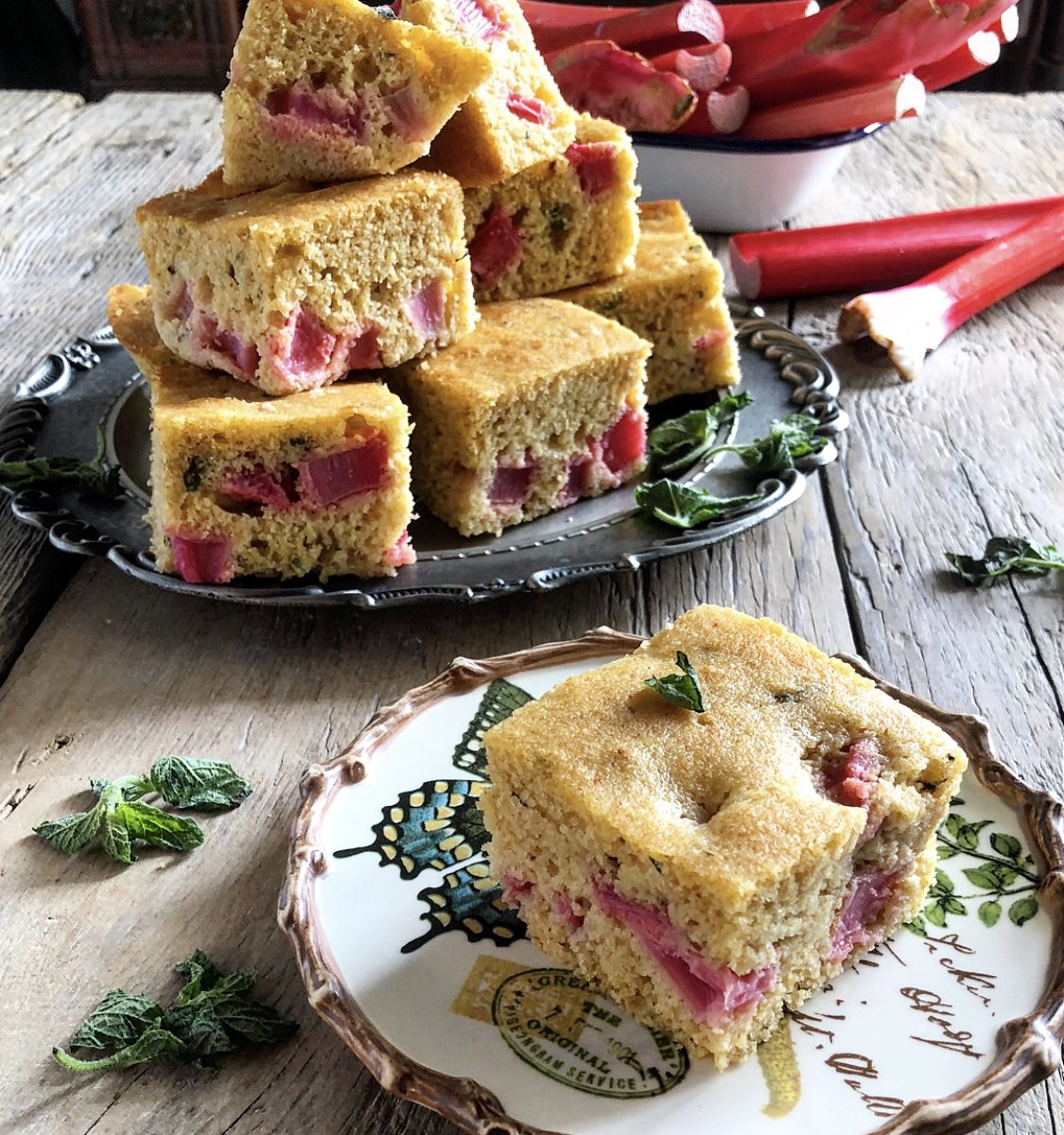 Rhubarb and Mint Cornbread
