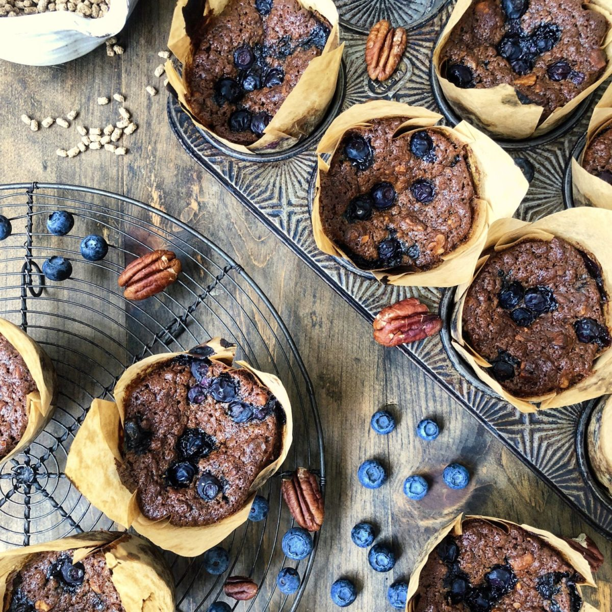 The most moist and tender blueberry bran muffin