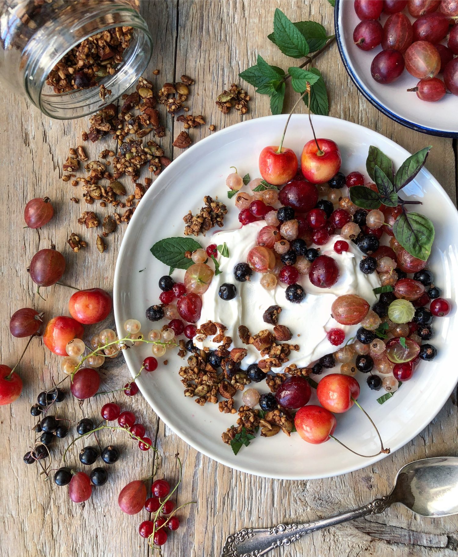 Tart and Sweet Currants and Gooseberries over Skyr with Gingerbread gluten free granola