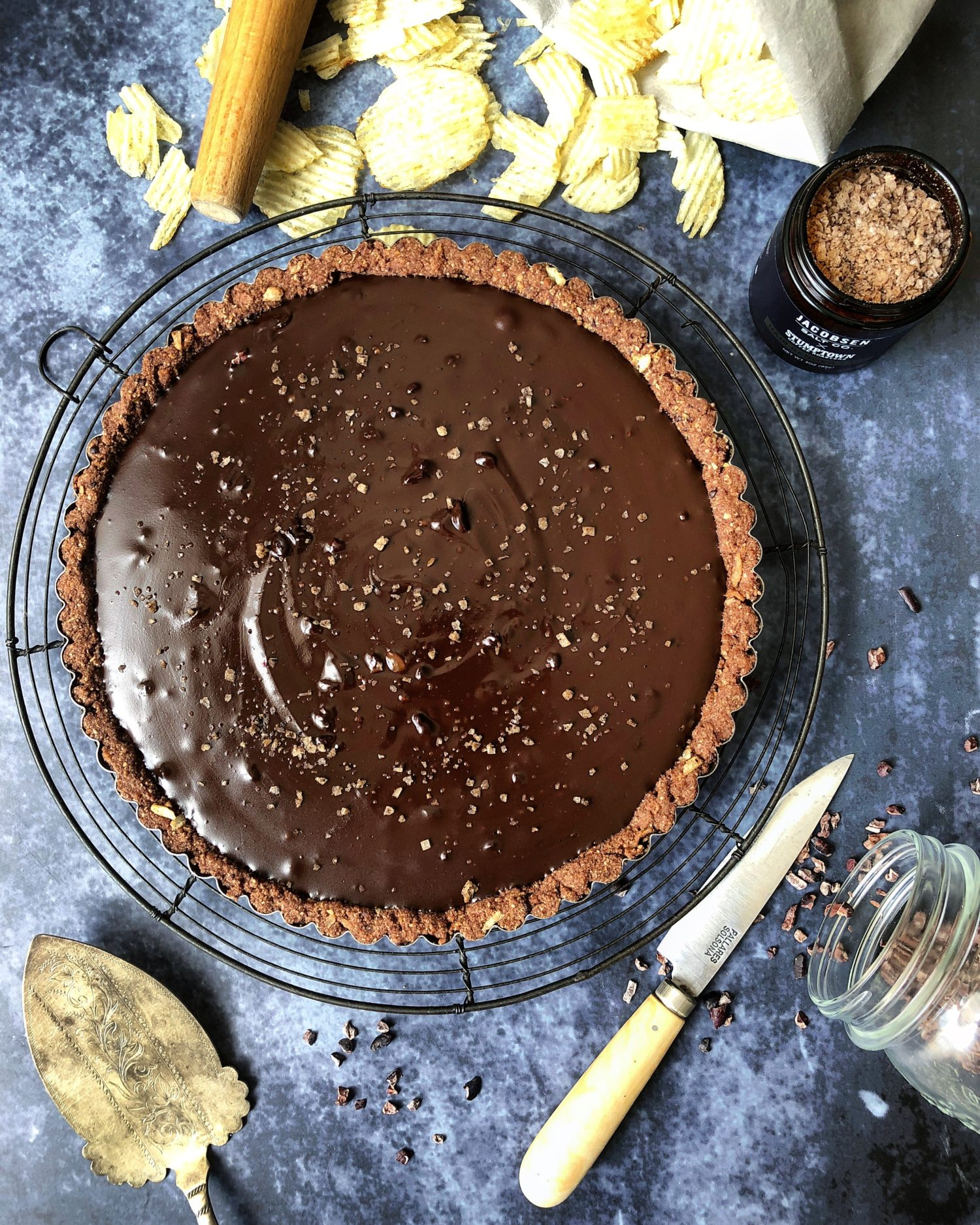 Rich, decadent and easy Salted Coffee Chocolate Tart