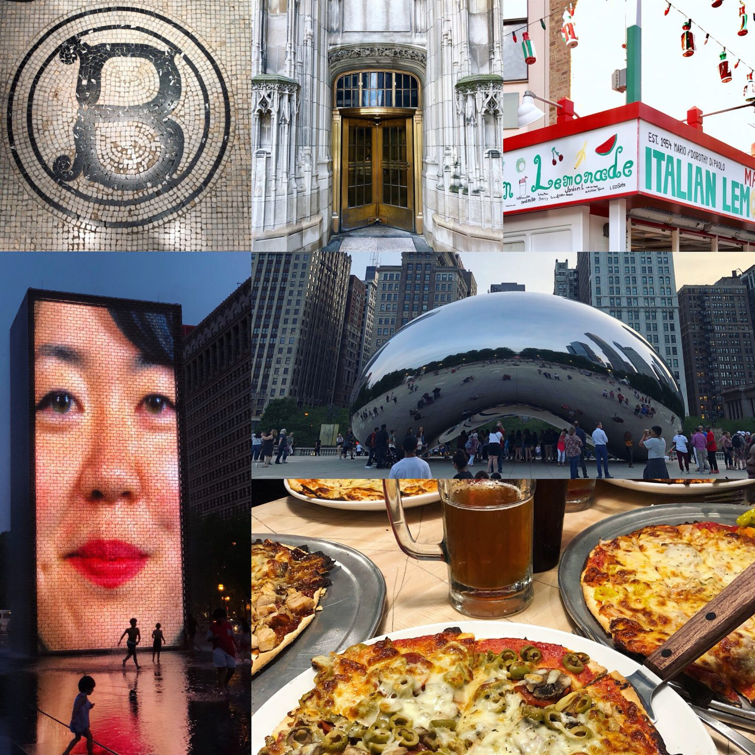 Chicago Collage, Bean, Italian Lemonade, Architecture, Pizza, Fountain