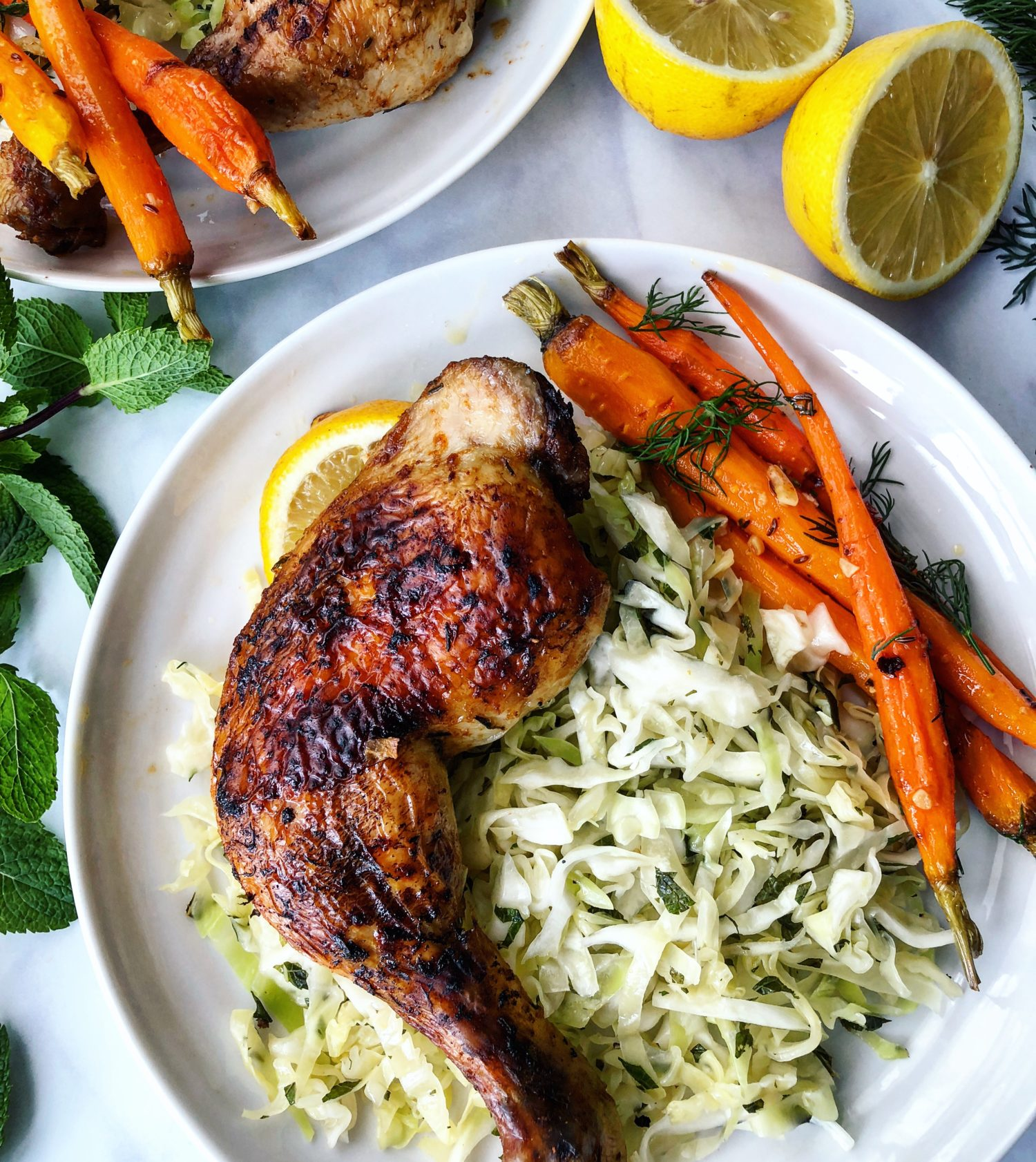 Juicy Lebanese Chicken, Malfouf Salad and Tunisian Carrots