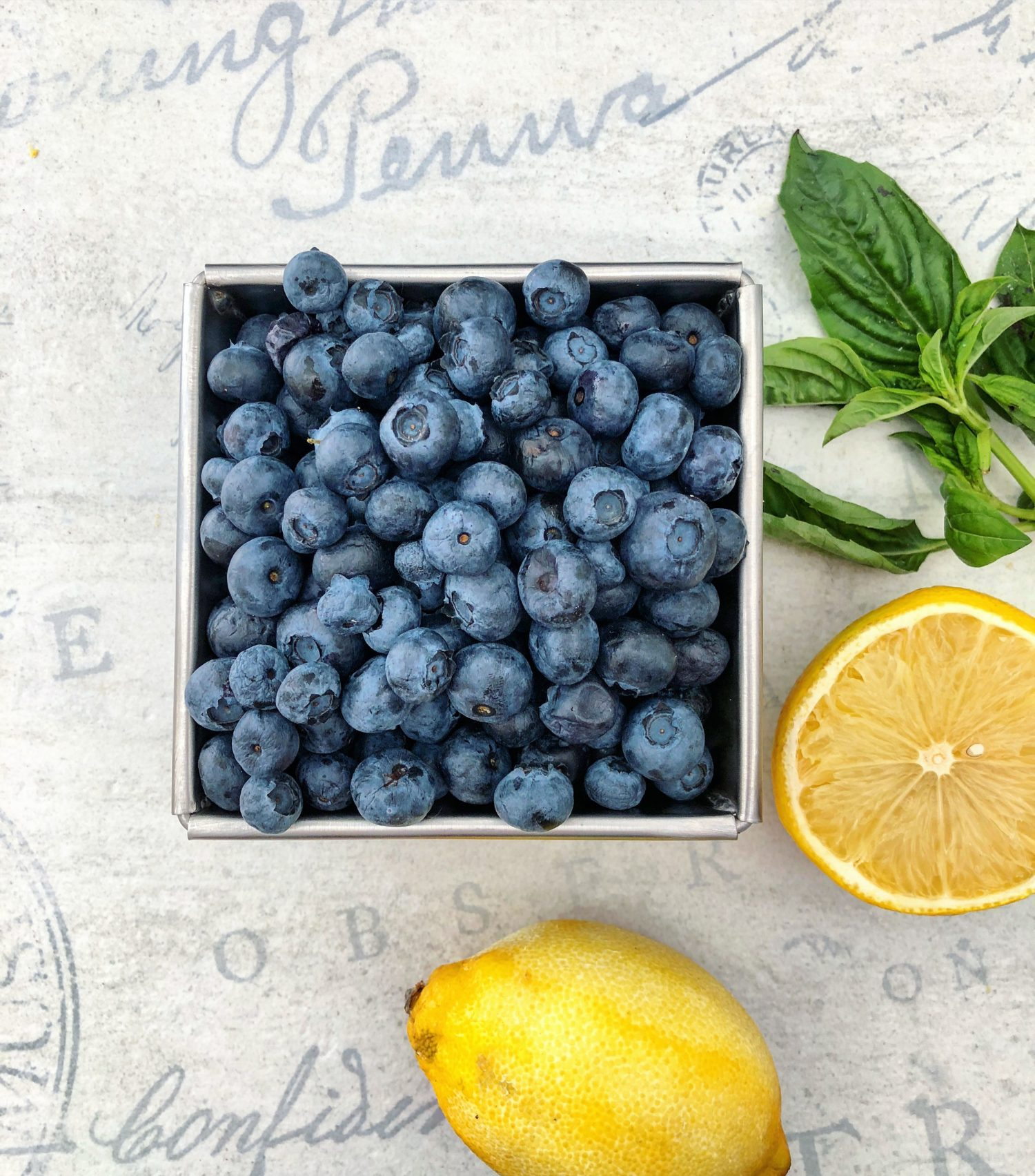 Lemon Blueberries and Basil