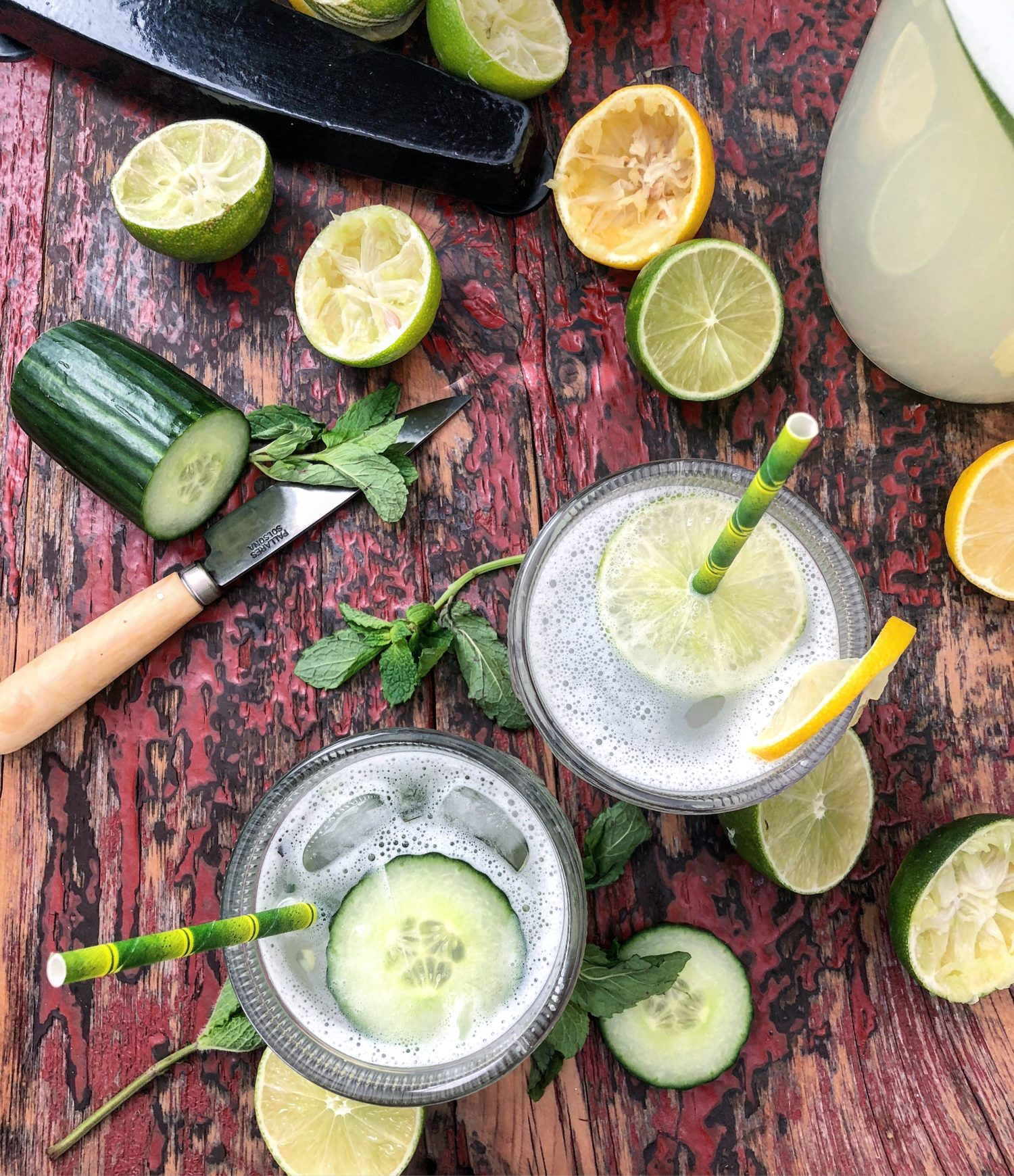 freshly squeezed lemonade with gin, cucumber and mint