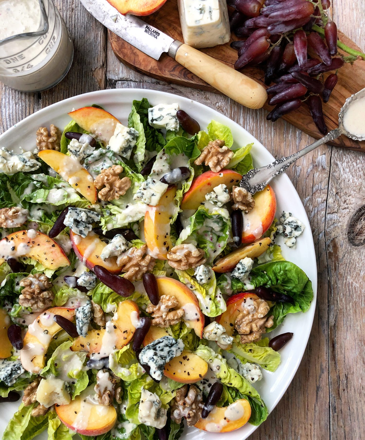 Seasonal Peach and Little Gems Salad with Walnuts, Grapes and Blue Cheese Dressing