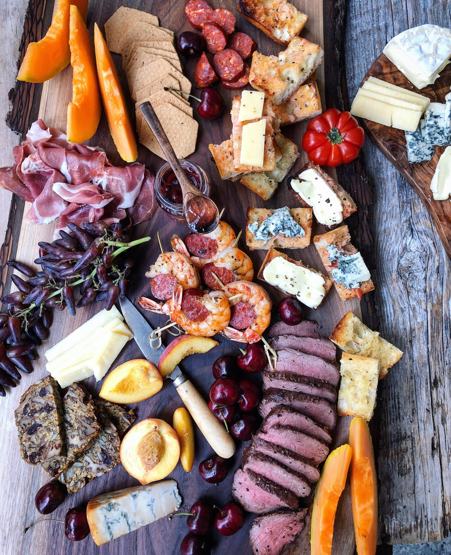 Summer Grilling Cheeseboard, with venison, shrimp and pan con tomate