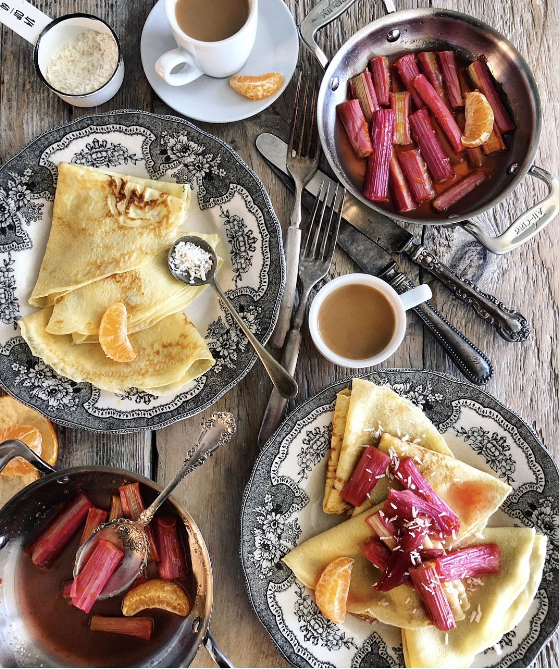 Crepes with Roasted Rhubarb