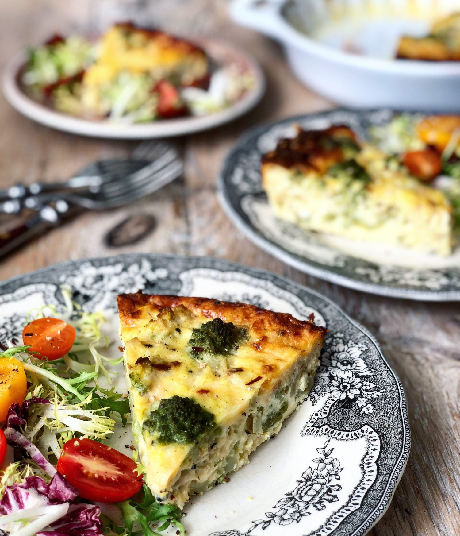Romanesco and Cheddar Crustless Quiche