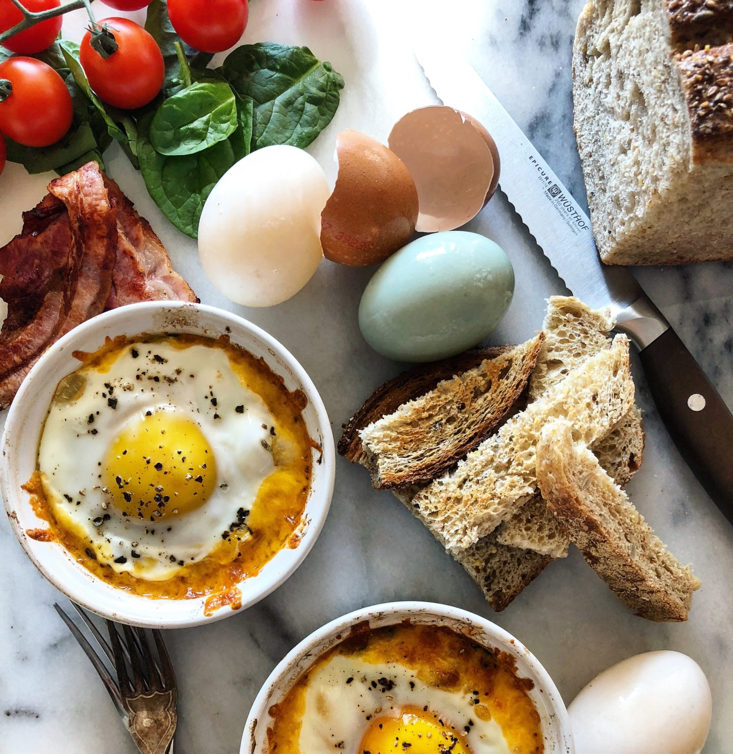 BLT Baked Eggs with Toast Soldiers