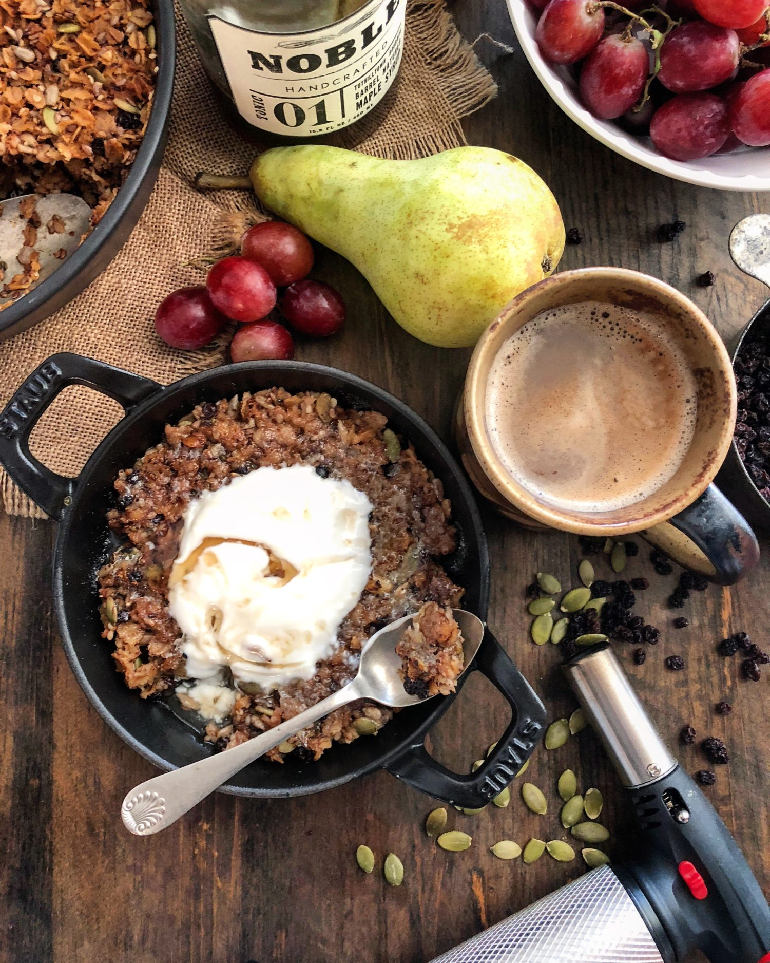 Toasted nutty seed and dried currant baked oatmeal brûlée