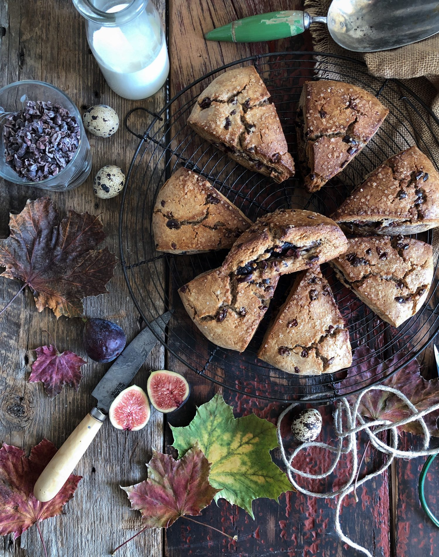 Tender Fig and Cocoa Nib Chestnut Scones