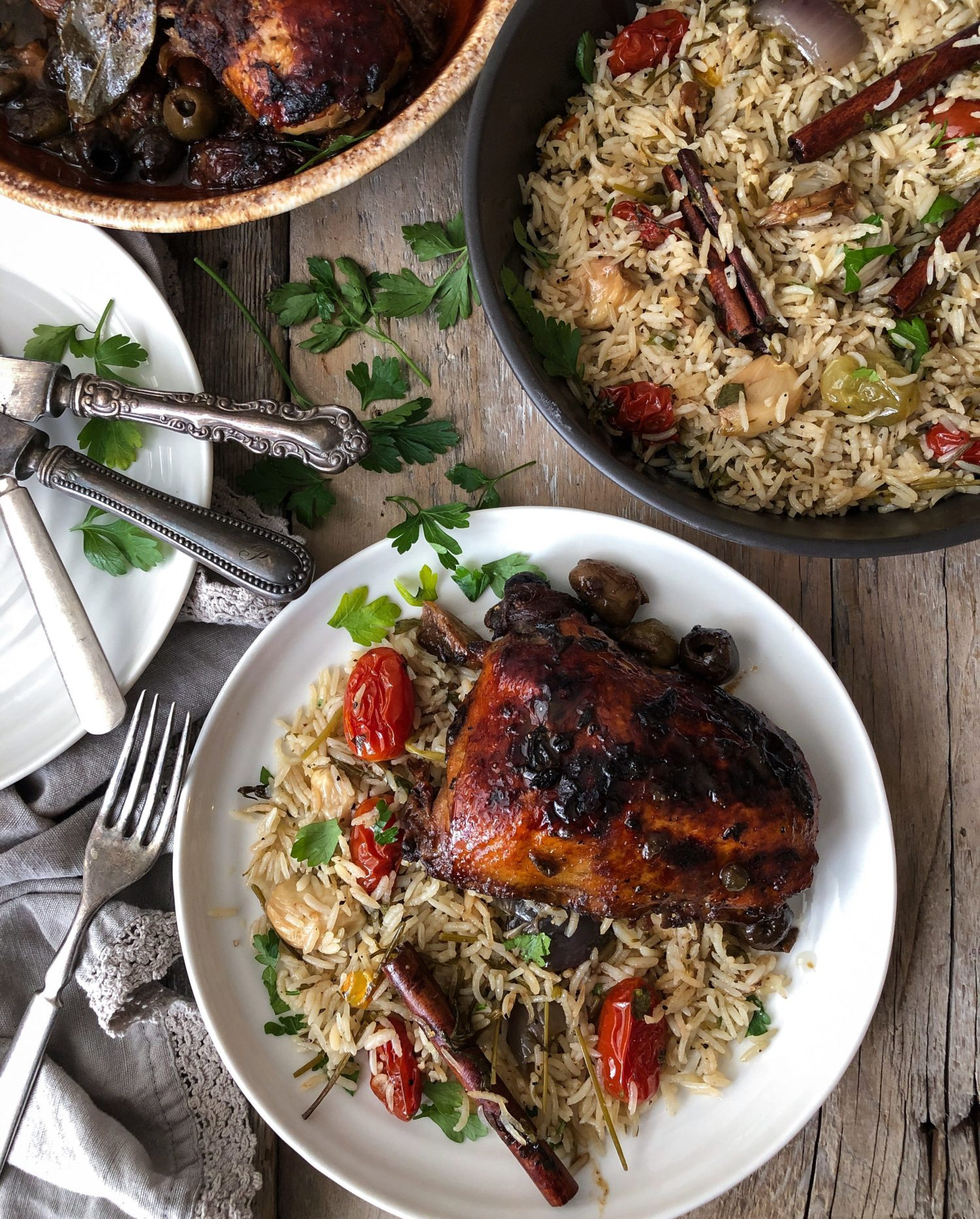 Ottolenghi exotic and flavourful Marbella Chicken and Tomato Confit Rice from Simple