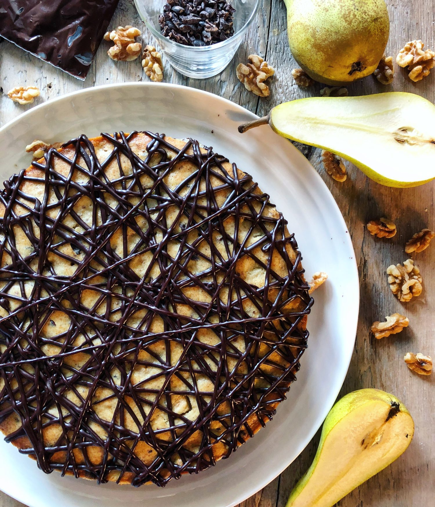 Pear Chestnut Cake with chocolate ganache drizzle