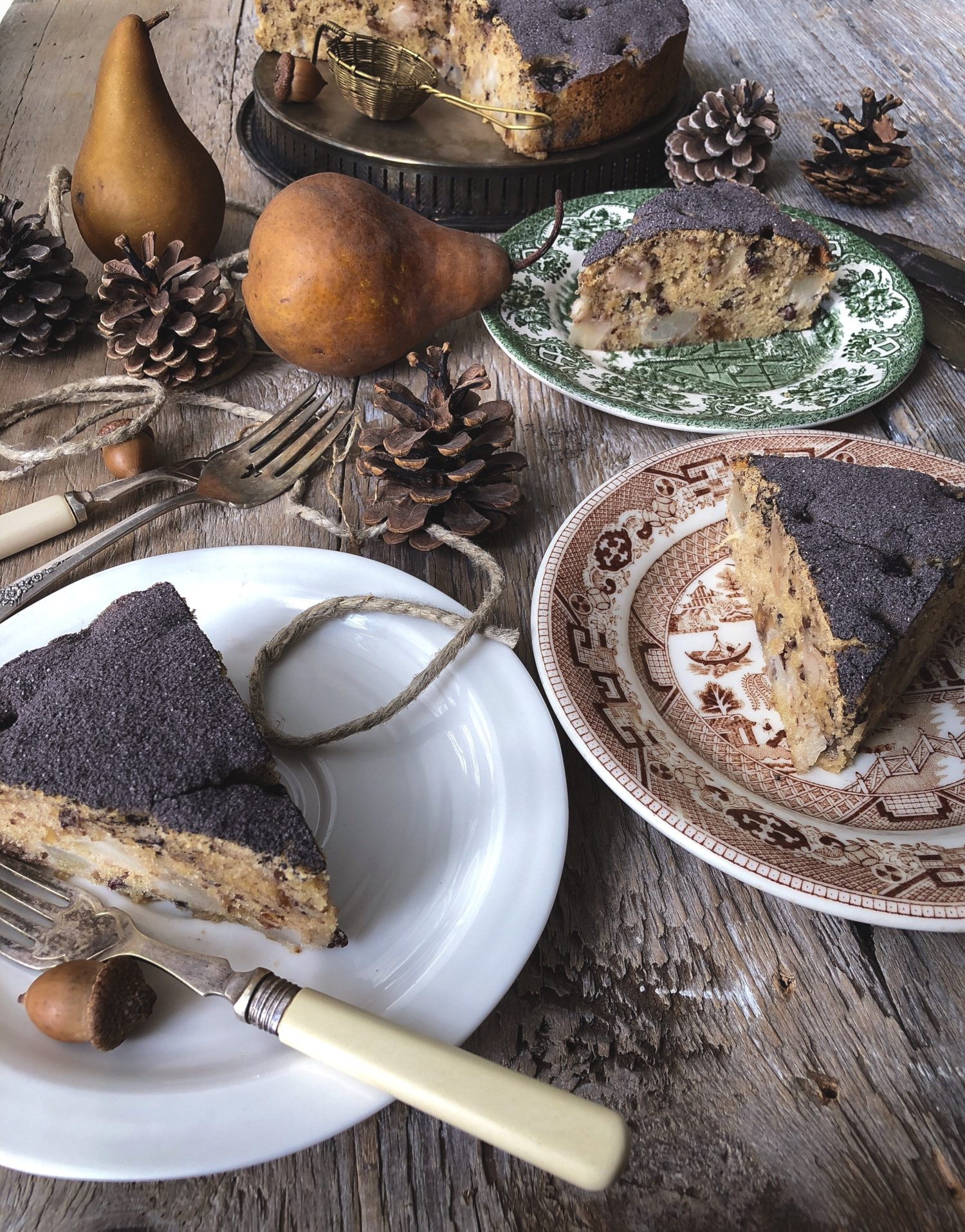 tender Pear and Chestnut cake dusted with cocoa powder