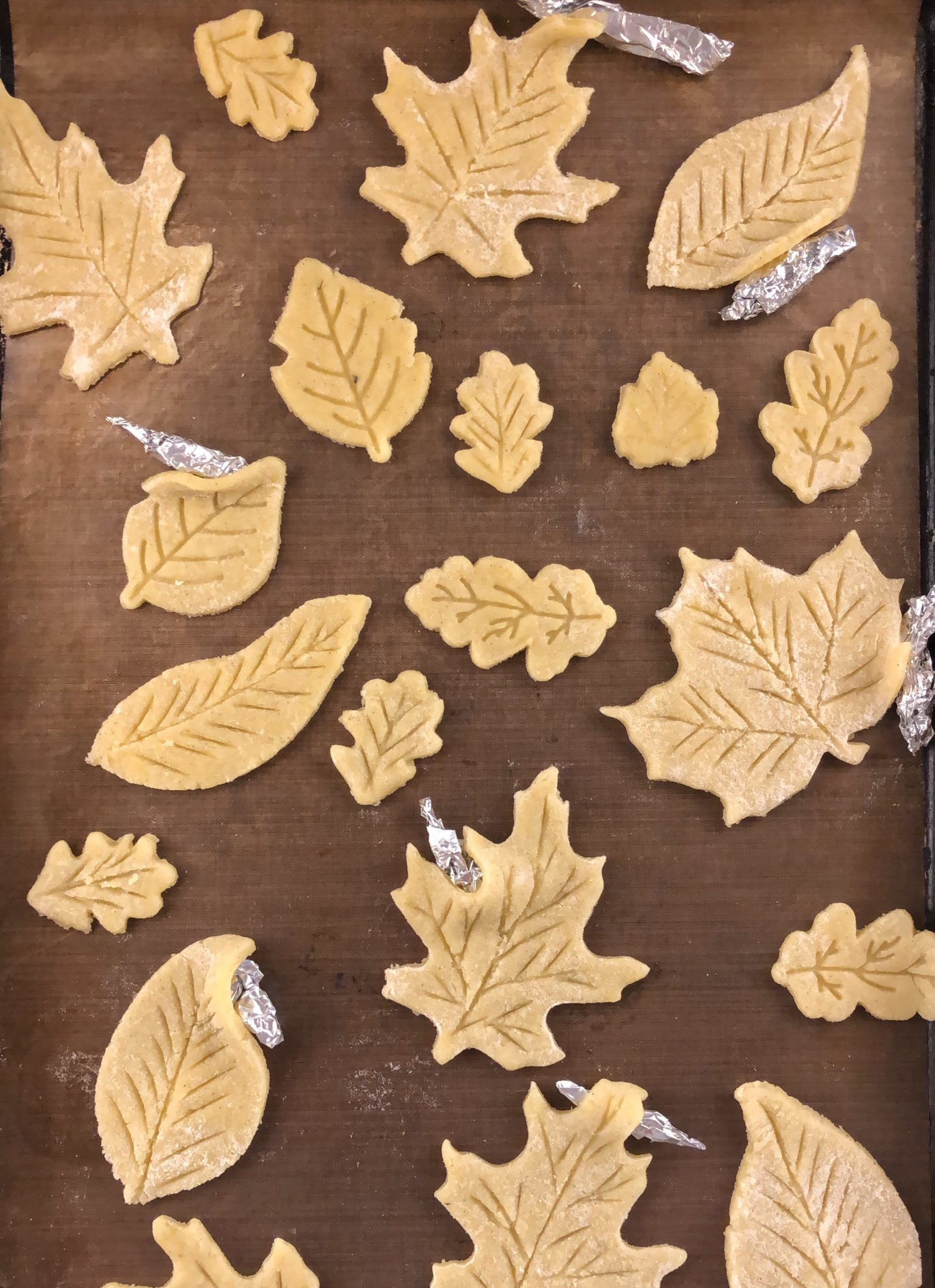 Leaf Pie cutouts before baking