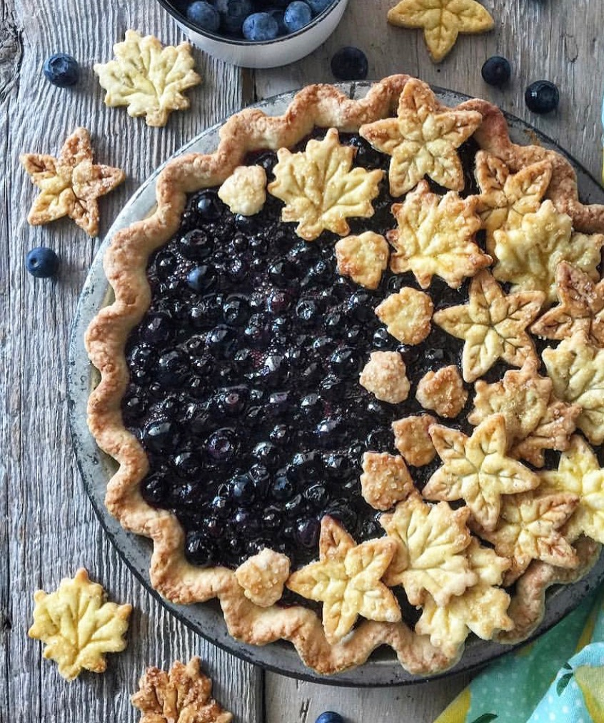 Blueberry Pie with cutouts added after baking