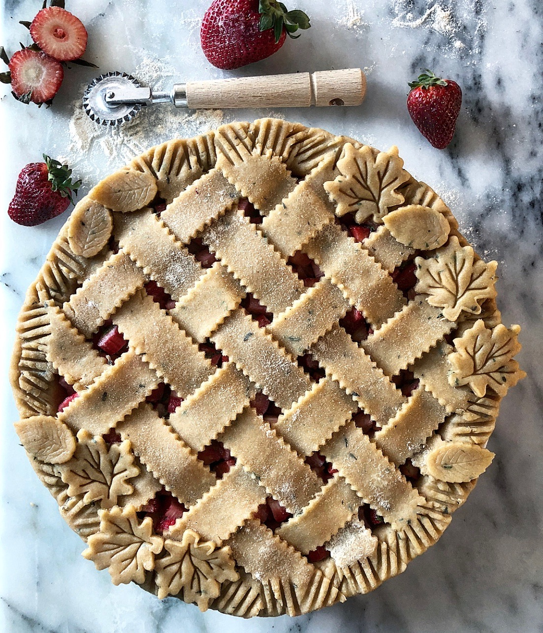 Strawberry Rhubarb Pie with thyme crust